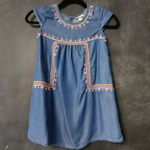 CHEROKEE | Chambray Embroidered Cap Sleeve Dress